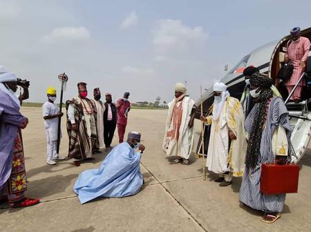 Emir Sanusi Travels to Ibadan ahead of Kola Karim's Coronation [Photos]