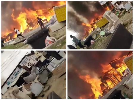 Reactions as fire guts furniture stores at Ajah, Lagos State (Watch video)