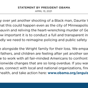 Barack Obama Opens Up Following The Tragic Killing of Black American By a Police Officer