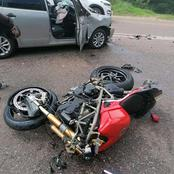 Dangerous Route R71 took another life. VW Polo collided head on with a motor bike.