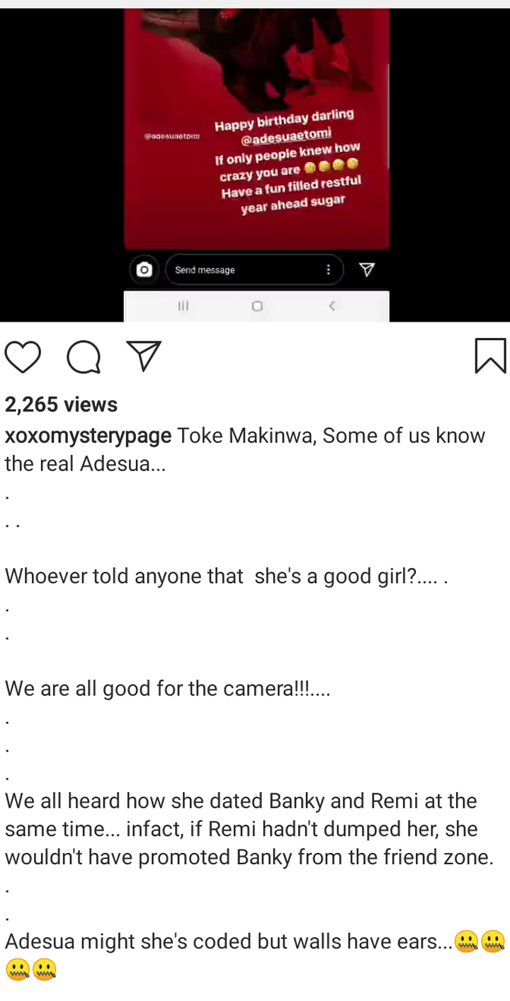Adesua Etomi Is Not A 'Saint', She Was Dating Banky W And Remi At The Same Time