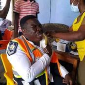 Ghanaiain Policeman Cries During Injection Of Covid-19 Vaccine (Photos)