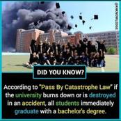 You Would Receive Bachelor's Degree If The University You Attend Gets Burnt, See How