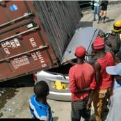 Container Accident Happening Now At Changamwe Round About In Mombasa