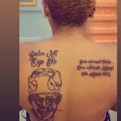 See Pictures Of Lady Who Wrote Tinubu Name and Pictures At Her Back