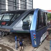See Photos of the Electronic Elevator Bus Made in China that is Capable of Travelling Above Traffic.