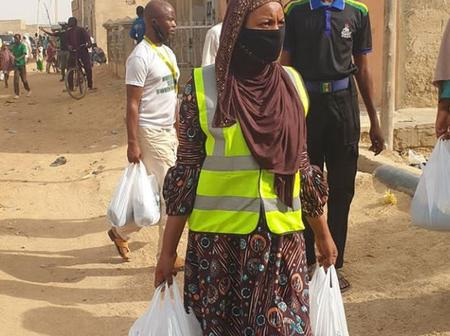 See How Kannywood's Former Actress Mansura Isah Helps Poor People During Luck Down
