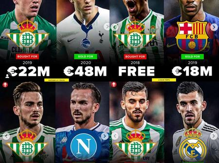 Betis is a business football club, check out profit made from the sale of some of players.