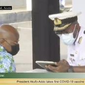 Ghanaians react massively as Akuffo-Addo takes first COVID-19 vaccine (Photos)