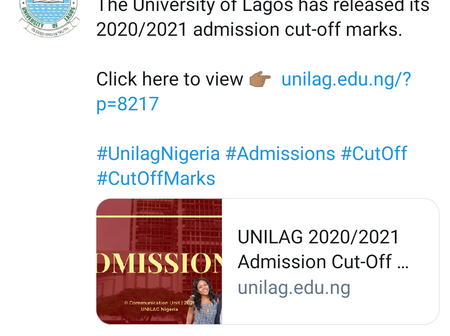 The University Of Lagos Has Released Its 2020/2021 Admission Cut-Off Marks. Check It Out