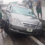 How motorist lost control, ran into drainage after vehicle's brake failed in Lagos