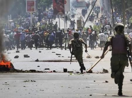 Angry Residents Block Kitale_Eldoret Road Protesting over Boys Being Sodomized by A Police Officer