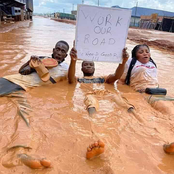 FUTO and Nekede Students Swim in Dirty Water to Protest for Reconstruction of the School's Bad Road