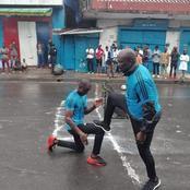 George weah ressuscite son âme de footballeur sur un terrain de Maracana à Monrovia.