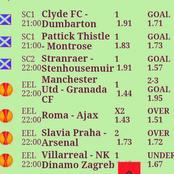 Today's Seven (7) Must Win Betslip For Mega Returns This Thursday i.e Arsenal, Manchester United
