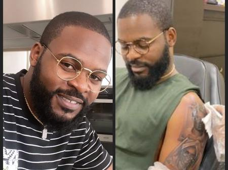 After rejecting tattoo for 12 years, see the first 5 faces Falz drew on his arm.
