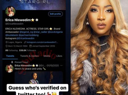 Erica finally gets verified on Twitter