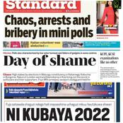 Today's newspaper headlines : Chaos, Arrest And bribery In Mini Polls A Day of Shame In The Country.