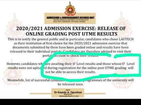 Lautech Ogbomoso Releases Screening Results For 2020/2021 Admission As Candidates Await Cut Off Mark