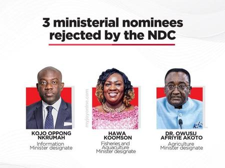 See The Revealed Reasons NDC MPs Rejected Hawa Koomson, Oppong Nkrumah, Afriyie Akoto's Nomination's