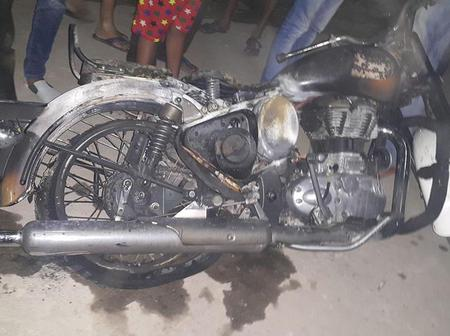 N/R; A motorbike mysteriously catches fire in Yendi.