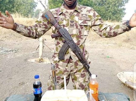 Nigerian Soldier Celebrates Birthday With Bread Instead Of Cake. See Photos.