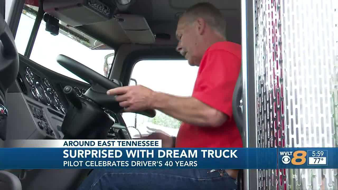 Truck driver gifted dream truck from Pilot after 42 years with the company