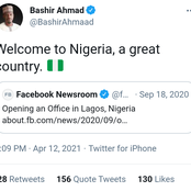 Press Buhari's Assistant has shared a 2020 tweet where Facebook announced their presence in Nigeria