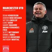 OFFICIAL: Manchester United Starting XI vs Manchester City