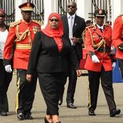 Tanzania's President Samia Observes This Covid-19 Measure For The First Time in Public [VIDEO]