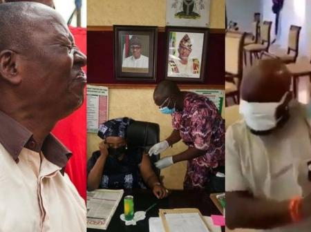 The face reactions of some Nigerians as they get injected with Covid-19 vaccine