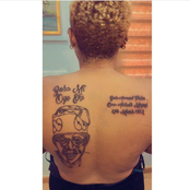 A Lady Tattooed Bola Tinubu's Face, His Date Of Birth On Her Back.