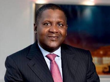 Who are the 13 people that Dangote follows on twitter?