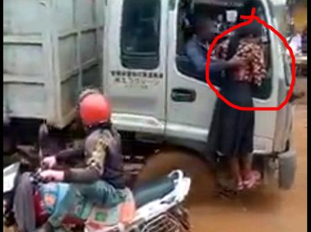 After a Lady and Boda Rider Got Stuck, See What a Lorry Driver Did That Sparked Mixed Reactions