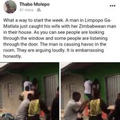 A man in Limpopo Ga-Matlala caught his wife with her Zimbabwean man in their house