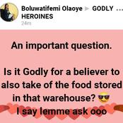 """Is it Godly for a believer to also take part of the food stored in that warehouse?"""