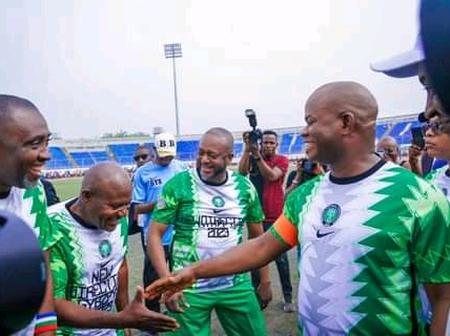 Reactions After Gov. Yahaya Bello, Edward Onoja, And Okocha Were Seen Playing Football In Kogi State