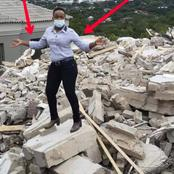 See What The Lady Whose Ex Boyfriend Demolished Her House Was Seen Doing On The Remnant Of The House