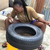 Photos Of How This Young Girl Transformed Used Vehicle Tyres Into Beautiful Things