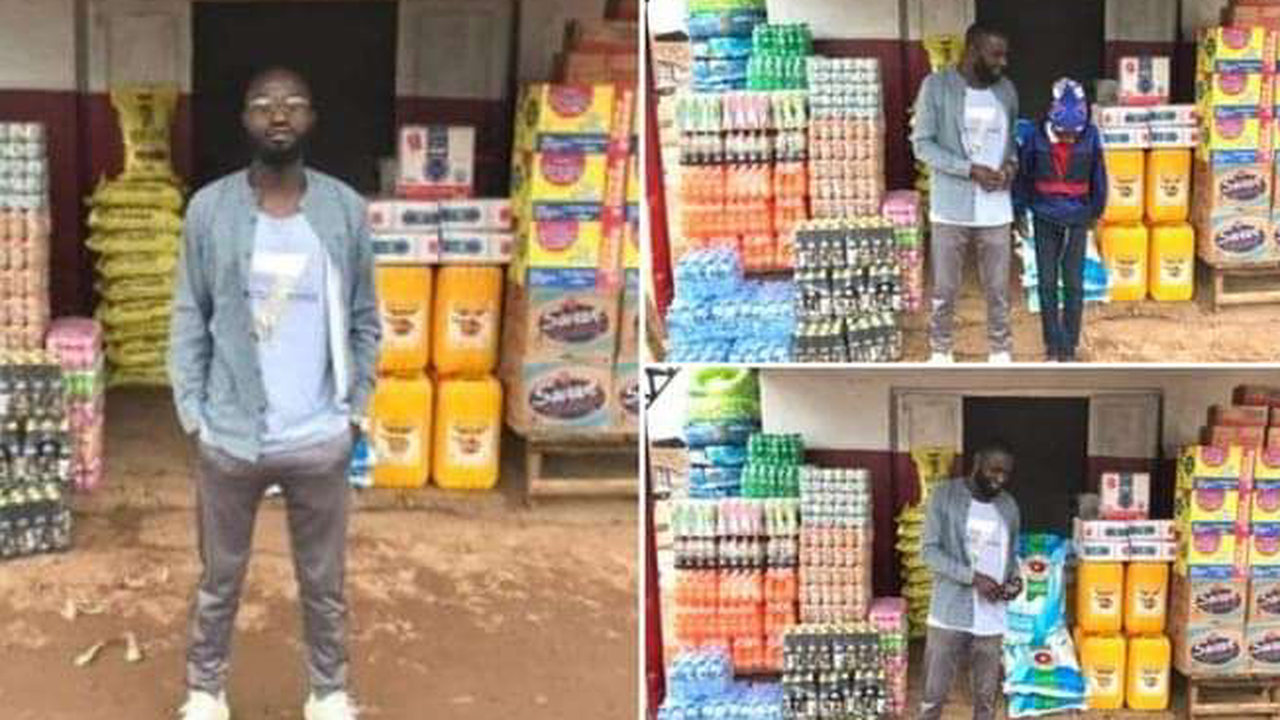 """""""Thank you South Africans"""" Zimbabwean man says as he opens a shop with looted goods"""