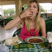 See Lovely Pictures Of Foreigners Eating Nigerian Local Food (Photos)