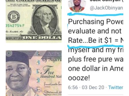 I don't care if $1 is equal to 1ƙ, purchasing power is what you Check not exchange rate-Twitter user