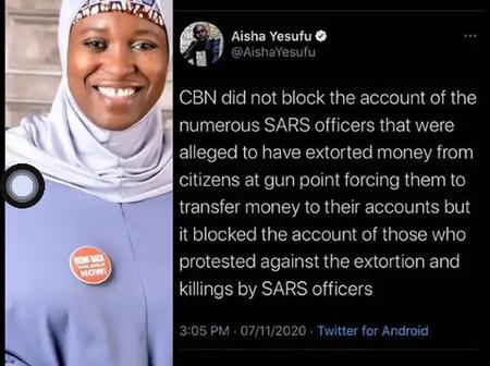 Citizens React Shortly After Aisha Yesufu Blasts The Federal Government For Freezing Bank accounts
