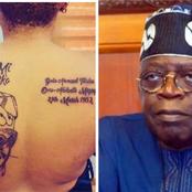 Unidentified Nigerian Lady Tatoo Bola Tinubu's Picture On Her Back