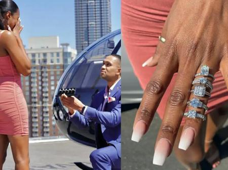 Man Propose To Girlfriend With 5 Different Diamond Rings