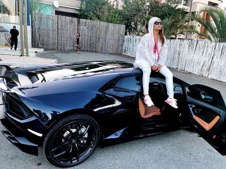 Khanyi Mbau shares a photo of R7 million Black Lamborghini with her Twitter followers