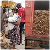 Check Out How Much 3 Tubers Of Yams From The North Were Sold In Ibadan