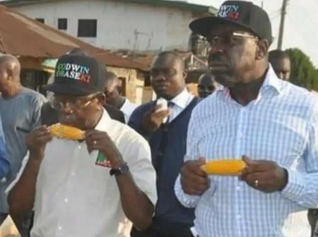 See Throwback Photos Of Adams Oshiomole And Godwin Obaseki Eating Corn Together