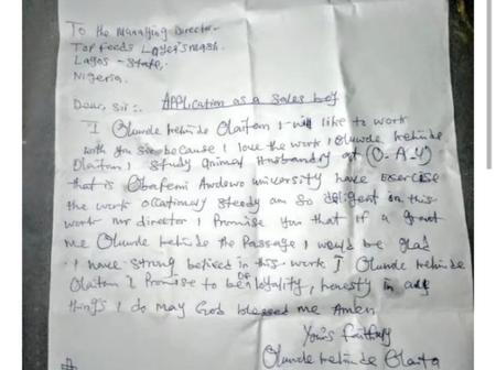 Lady Shares Application Leter Written By OAU Graduate Seeking For Employment