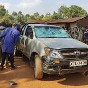 Sad! See How Suspected Ford Kenya Supporters Destroyed UDA Candidate's Car